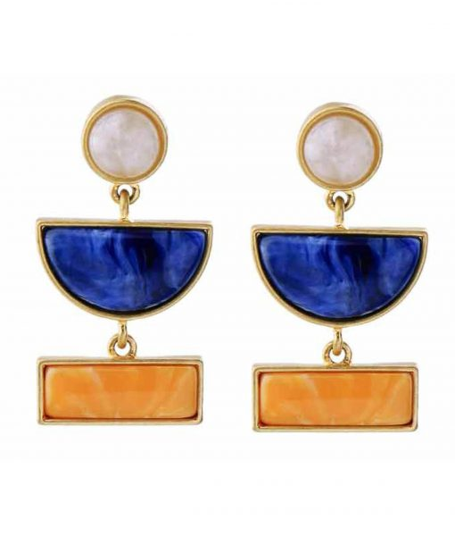 orange and blue statement earrings