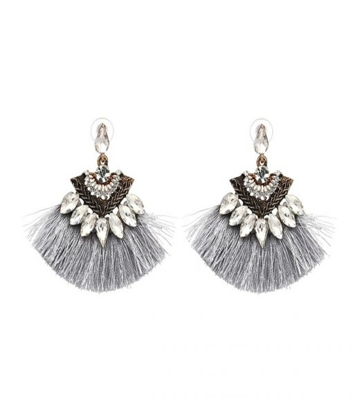Grey fan tassel earrings