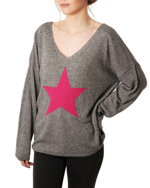 one pink star print jumper