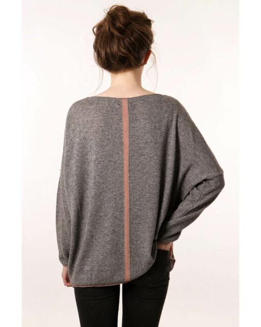 grey jumper with pink stripe back