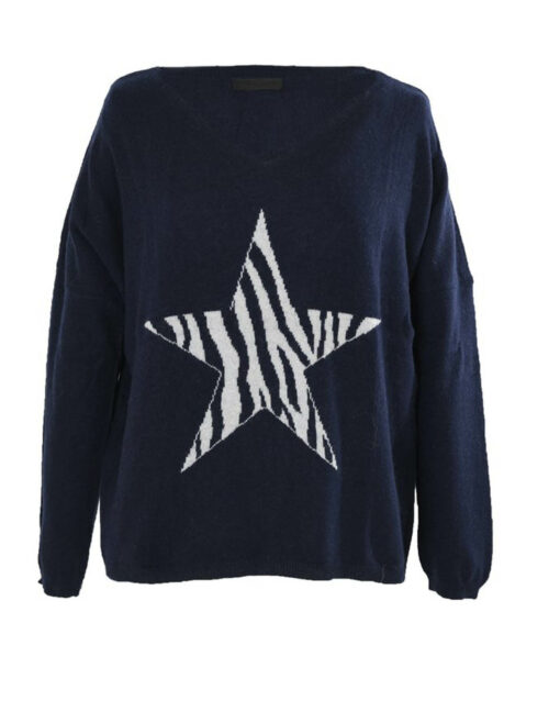 navy jumper with animal star