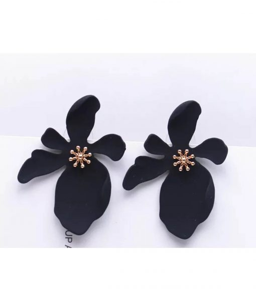 black flower studs