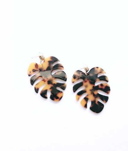 Tortoiseshell Palm Leaf Earrings