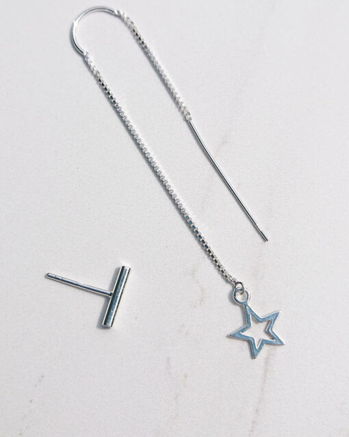 star open and stud earring