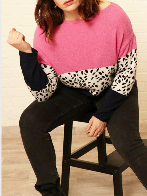 pink animal print jumper