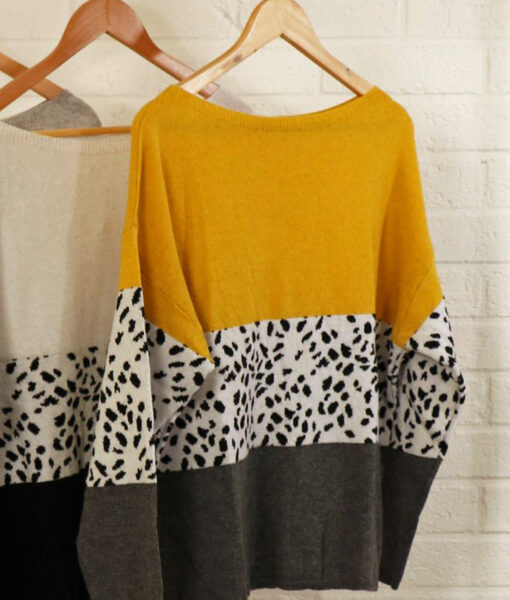 yellow animal print jumper
