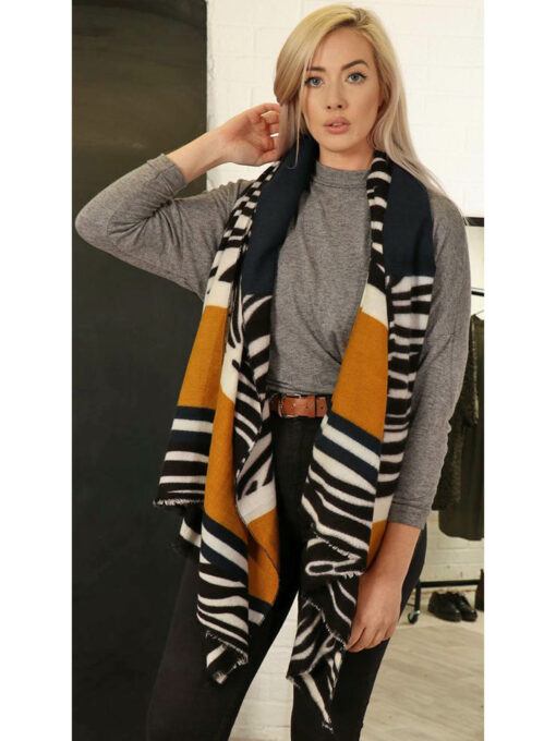 animal print scarf mustard long