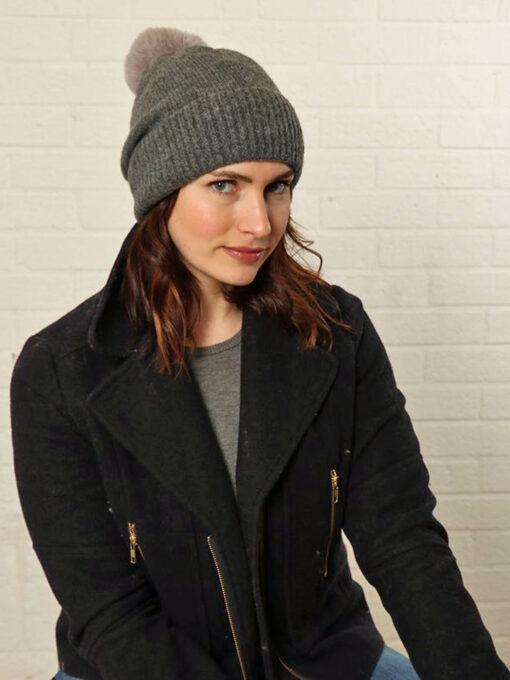 dark grey bobble hat